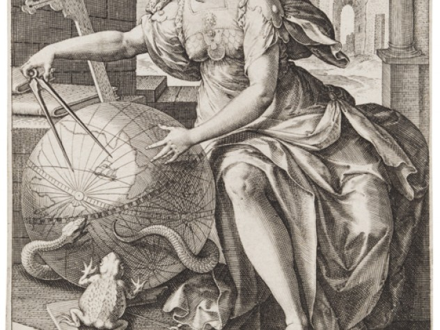 Jan Sadeler I, after Maarten de Vos,<i> Geometry,</i> from the series <i>The Seven Liberal Arts,</i> after 1575. Engraving