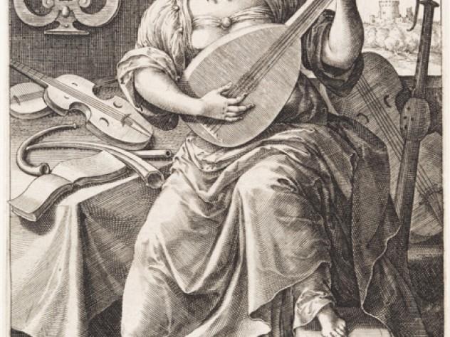 Jan Sadeler I, after Maarten de Vos,<i> Music,</i> from the series <i>The Seven Liberal Arts,</i> after 1575. Engraving