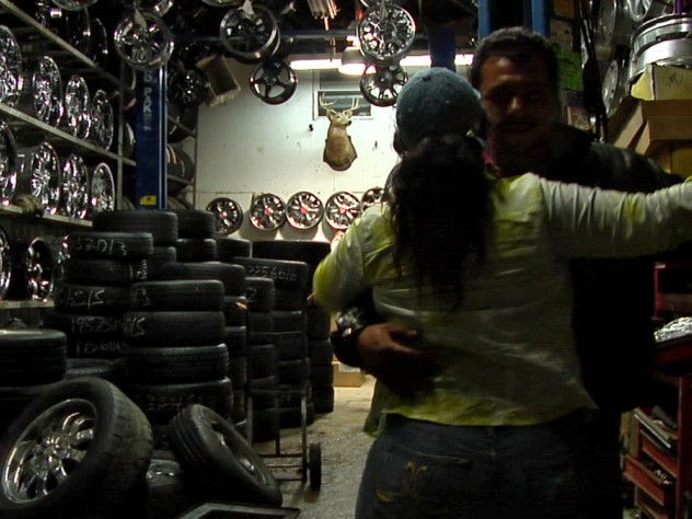 A dance amid wheels and tires