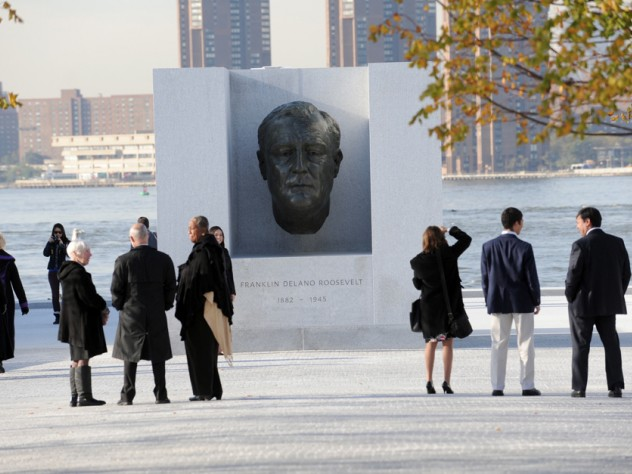 People gathered on the island on October 17 to officially open the Franklin D. Roosevelt Four Freedoms Park.