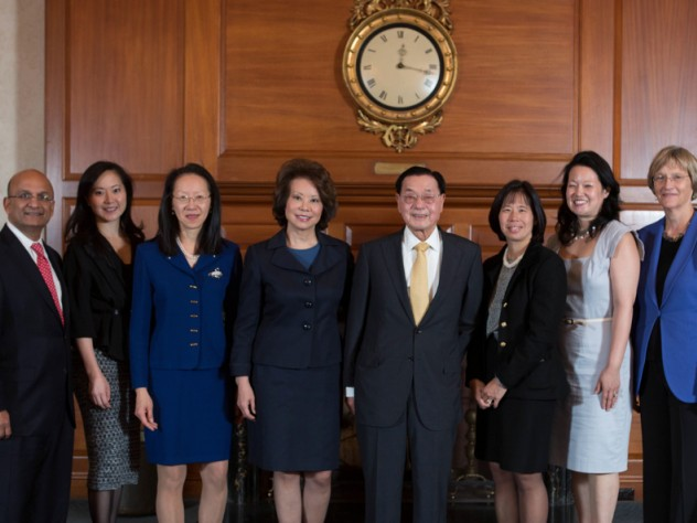 HBS Dean Nitin Nohria; Angela Chao, Deputy Chairman, Foremost Group; May Chao; Elaine L. Chao; Dr. James Si-Cheng Chao, Chairman, Foremost Group; Christine Chao; Grace Chao; and President Drew Faust