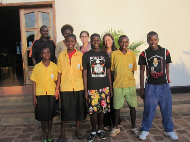Theresa Betancourt with members of the youth advisory board for her family-strengthening intervention project in southern Kayonza District, Rwanda