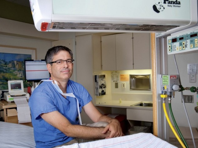 Jeffrey Ecker in a birthing room at Massachusetts General Hospital