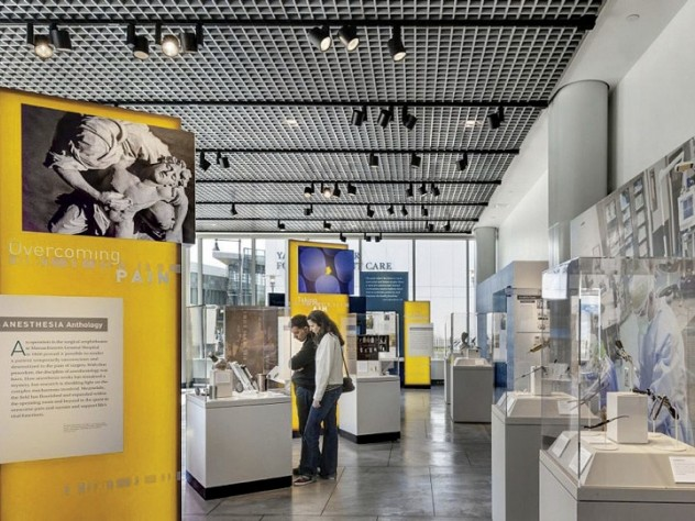 Exhibits on medical history in the new museum's first-floor gallery