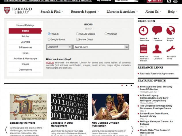 The Harvard Library's new online portal debuted September 18.