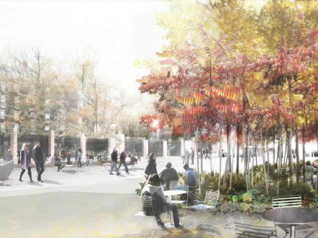 4. A rendering of the seating along the newly planted façade of the Science Center, part of the plaza's landscape design