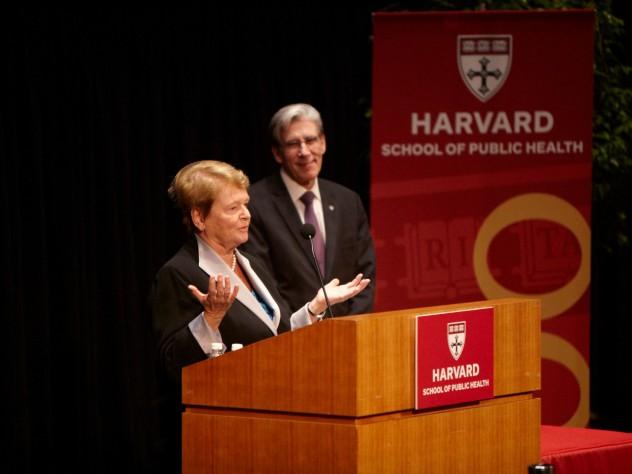 Gro Harlem Brundtland, M.P.H. '65, who received a Centennial Medal on Thursday