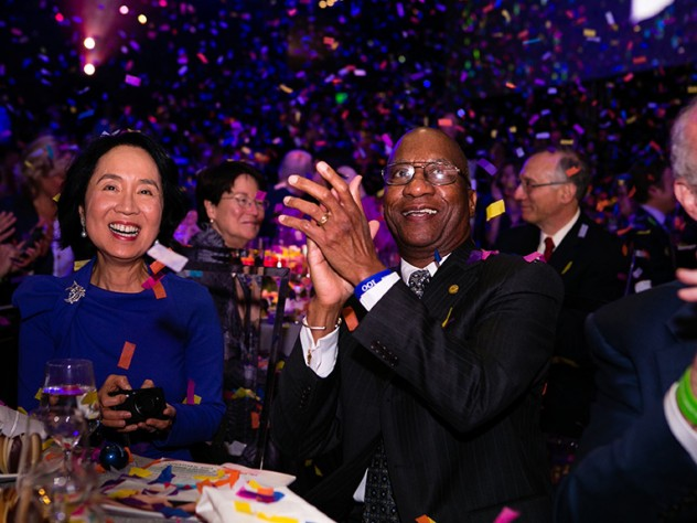 Lilian Cheung, S.M. '75, S.D. '78, and Donald Hopkins, M.P.H. '70, celebrate HSPH's centennial.