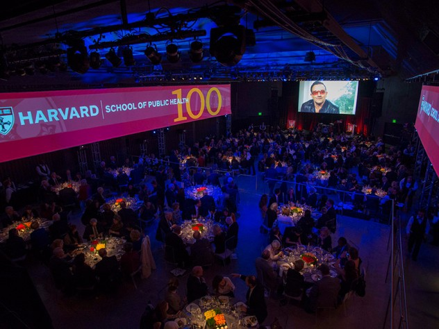 A recorded message from U2 lead vocalist Bono began the HSPH Centennial Gala.