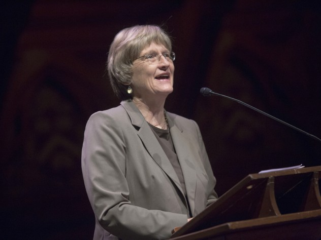 President Drew Faust during the FAS campaign launch