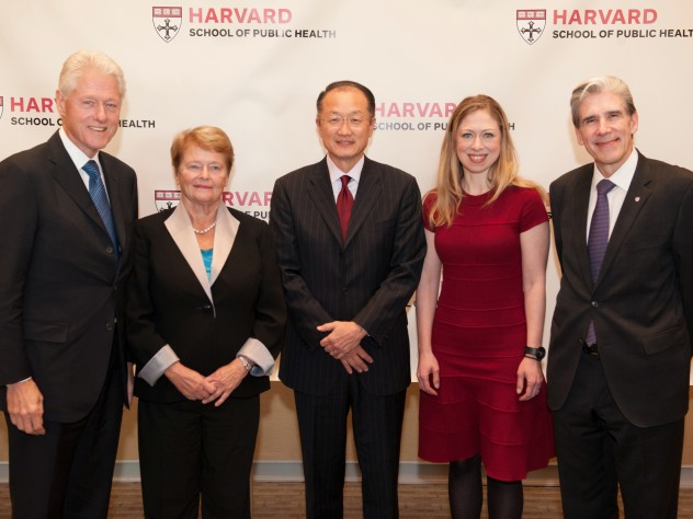 HSPH dean Julio Frenk (at right) with the school's Centennial Medalists, Bill Clinton, Gro Harlem Brundtland, and Jim Yong Kim, and Chelsea Clinton, who received the inaugural HSPH Next Generation Award