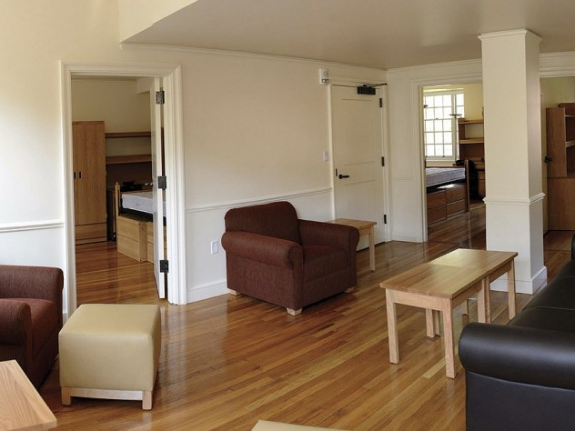 a three-bedroom residential suite with Harvard-supplied furnishings