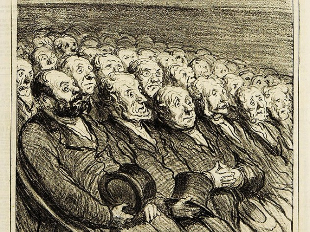 <i>The Audience in the Orchestra Seats,</i> 1864, lithograph by Honor&eacute;-Victorin Daumier. Harvard Theatre Collection