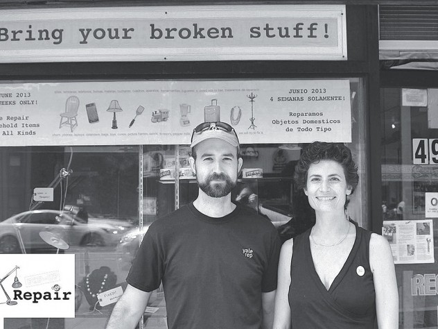 Sandra Goldmark and Michael Banta at Pop Up Repair, their experimental effort to begin a national dialogue about consumption