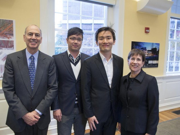 Kenneth L. Wallach and Susan S. Wallach with GSD students Keojin Jin (left) and Juhun Lee, who created <i>Saturate the Moment,</i> the inaugural installation for the garden now named for the Wallachs