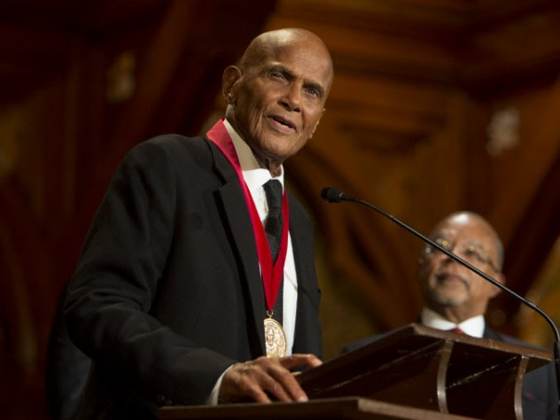 Emmy, Grammy, and Tony Award winner Harry Belafonte accepts his W.E.B Du Bois Medal.