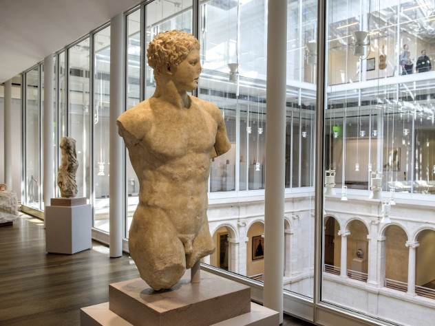 Light from the Calderwood Courtyard is ideal for the display of ancient sculpture, like this Roman work.