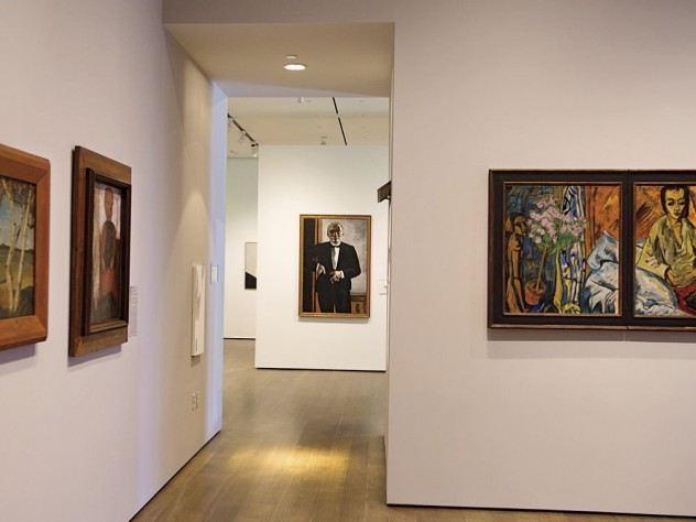 A gallery tracing the origins of expressionism, with Max Beckmann's <i>Self-Portrait in Tuxedo </i>in center background