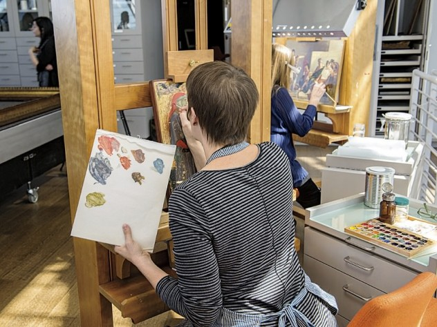 In the Straus Center for Conservation and Technical Studies on the museum's top floors, conservators and conservation scientists have been busy readying artworks for display in the reinstalled galleries.