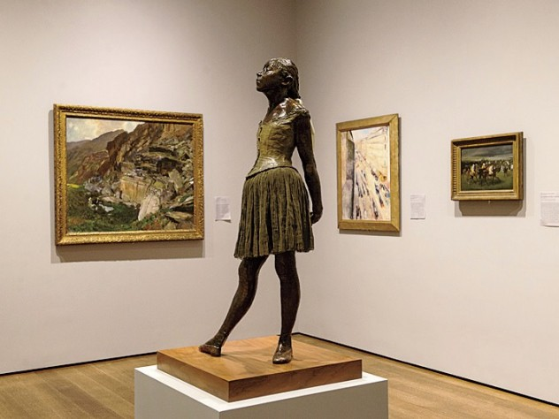 Paintings by Sargent, Munch, and Degas background the latter's <i>Little Dancer</i> in a gallery that shows the international nature of art and collection in the second half of the nineteenth century.