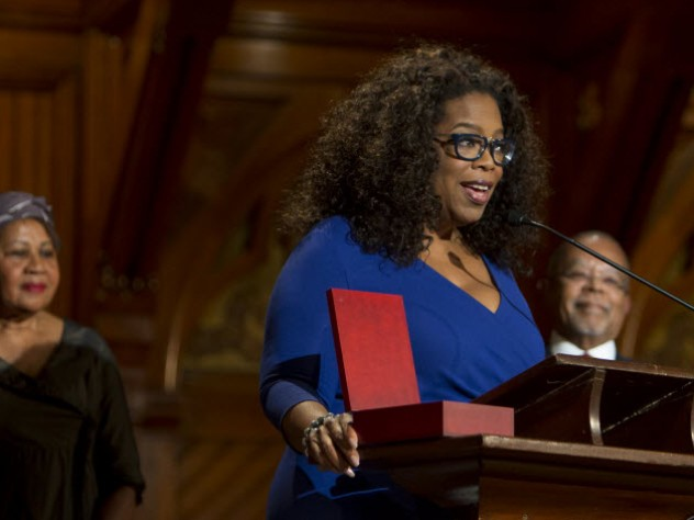 Oprah Winfrey accepts the W.E.B Du Bois Medal for the late writer and activist Maya Angelou.