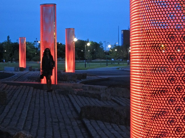 In <i>5 Beacons for the Lost Half-Mile</i>, Miller guides pedestrians through a newly opened pedestrian corridor between Charlestown and Cambridge.