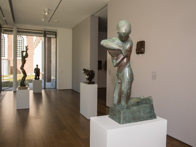 Museum curators placed objects that are not light sensitive in the galleries with floor-to-ceiling windows.
