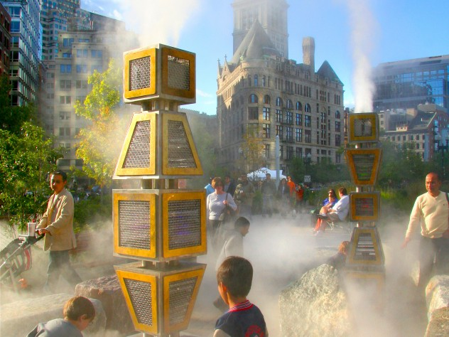 The tall sculptures in <i>Harbor Fog</i>, Miller's piece on the Greenway, were inspired by navigational buoys