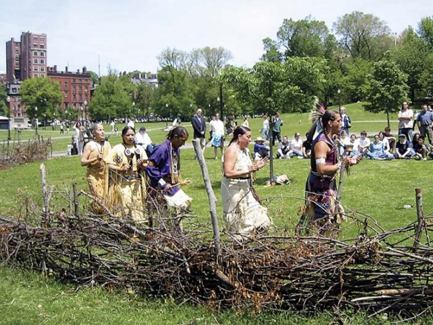 A traditional ceremony marks Miller's annual construction of a Native American fishweir on Boston Common.