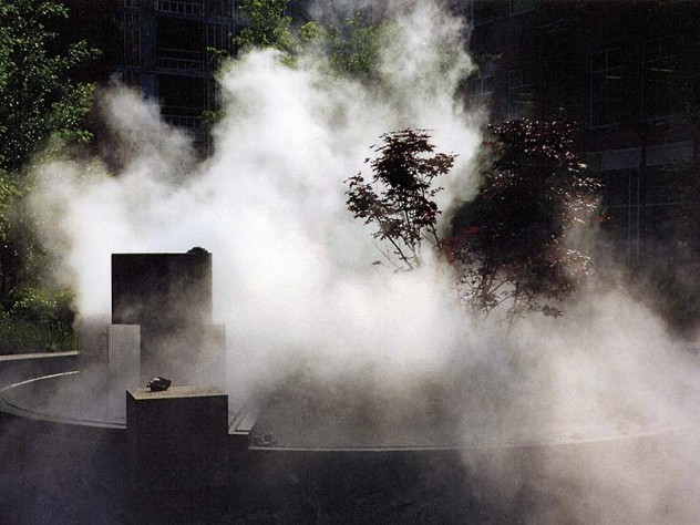 The fountain <i>Salt Marsh Fog</i> marks the history of the MIT park site, on what was once the Charles River's marshy bank.
