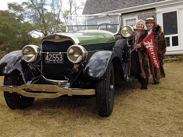 Robert Norton Ganz Jr. and his wife, Anne, give pride of place to his 1925 Lincoln convertible.