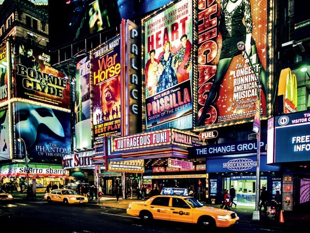 In vibrant Times Square, Broadway plays and musicals compete to become the next megahit.