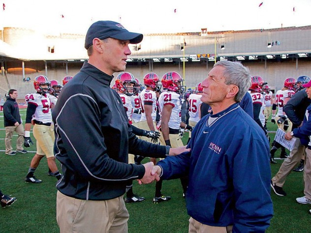 Coach speak: At Franklin Field last year, Murphy chatted with Al Bagnoli, the only Ivy coach to have a winning record against the Crimson under Murphy.