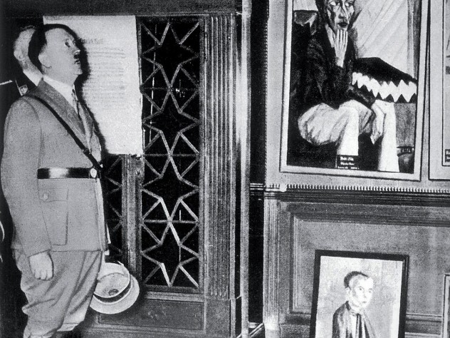 Adolf Hitler in Dresden, 1935, visiting an exhibition of disgrace, the precursor to the Exhibit of Degenerate Art