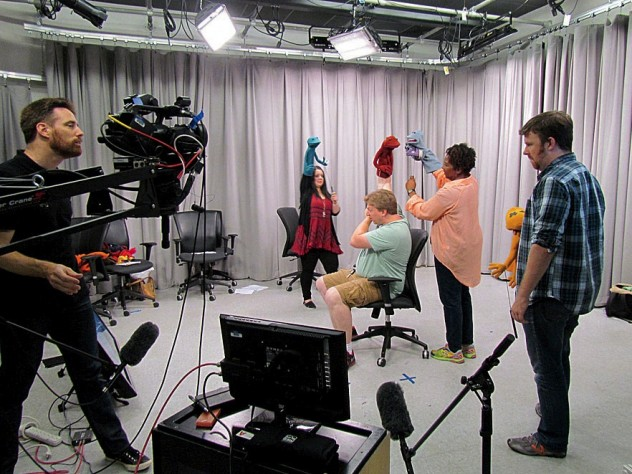 "An ""On-Camera Puppetry Intensive"" with Ronald Binion (at far left)"