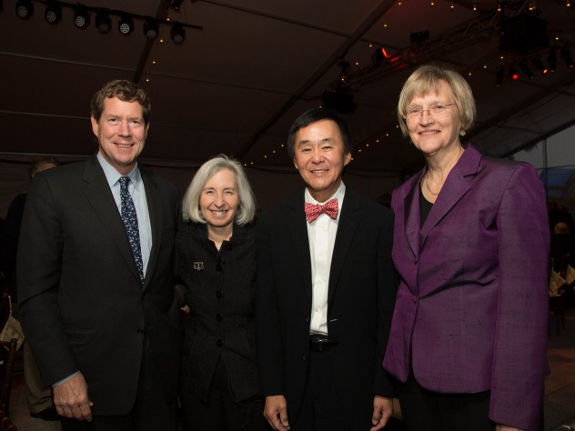 Two of the Law School campaign's three co-chairs—James A. Attwood Jr., J.D.-M.B.A '84, and Morgan Chu, J.D. '76—with Dean Minow and President Drew Faust