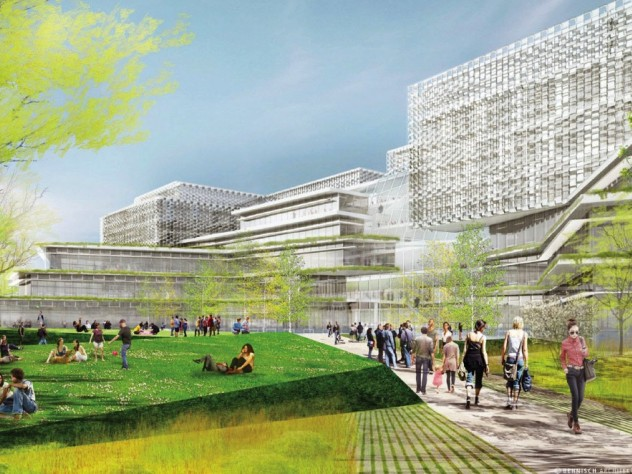 Rendering of planned science and engineering complex in Allston