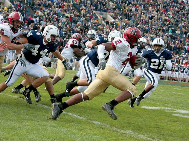 Familiar sights: Harvard defensive back Steve Williams picked off an Eli pass during the 37-6 win in the 2007 Game, the triumph that launched the current eight-year streak.