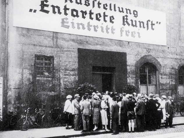 Crowds gather on opening day in Munich, July 19, 1937, for the Exhibit of Degenerate Art.