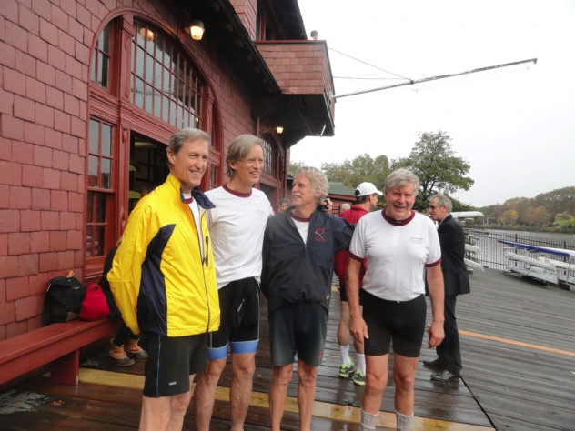 On Saturday morning, all nine crewmates were together for the first time since they began training. Here (from left), Roger Cheever, Scott Steketee, Gib Vincent, and Garrett Olmsted reunite.