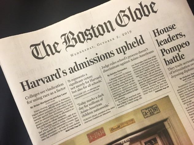 """The Boston Globe's front page on October 2, 2019, with the headline """"Harvard's admissions upheld"""""""