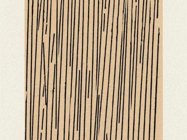 Print of black vertical lines of various lengths, some at a slight angle, filling a page lengthwise