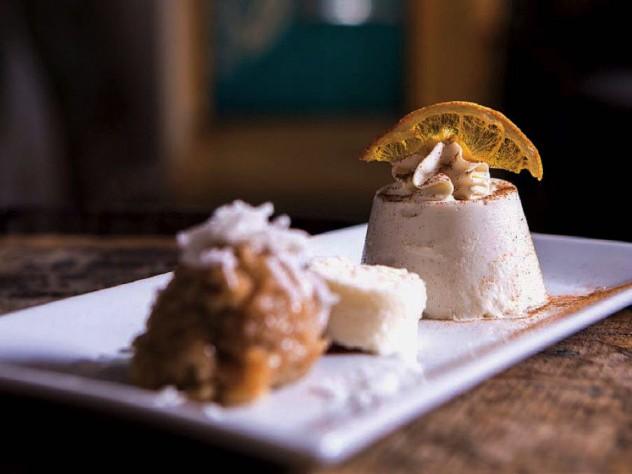 Desserts include tembleque, a coconut pudding.