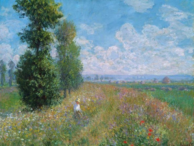 Claude Monet's painting of clouds, fields, and poplars