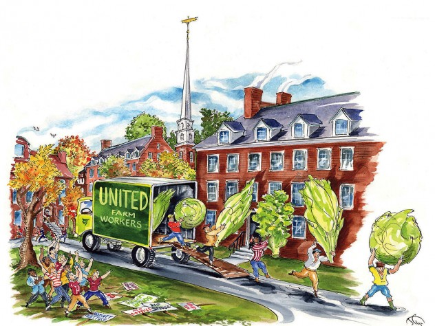 In Harvard Yard, workers unload gigantic heads of lettuce and other greens from a truck prominently labeled United Farm Workers as students celebrate the University's decision to support the union workers by buying only UFW-certified produce.