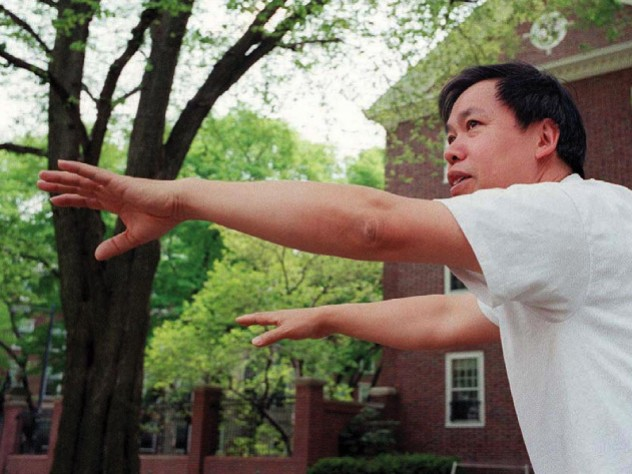 Master Yon Lee extends his hands in a tai chi pose.
