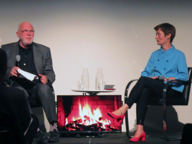 A file photograph of M.Des. program director and Noyes professor in architectural theory K. Michael Hays sitting with Design School dean Sarah Whiting