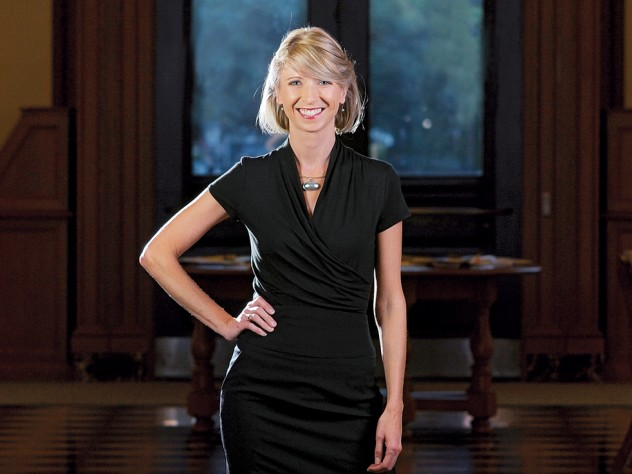 Amy Cuddy  at Harvard  Business School's  Baker Library
