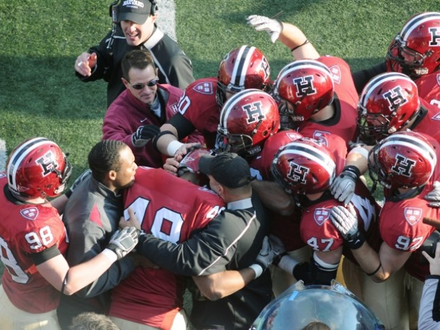 Tackle Josué Ortiz '12 got a hero's welcome on the Harvard sideline after blocking a Yale punt in the third period. His big defensive play set up a rushing touchdown by Gino Gordon that gave Harvard a 21-14 lead.