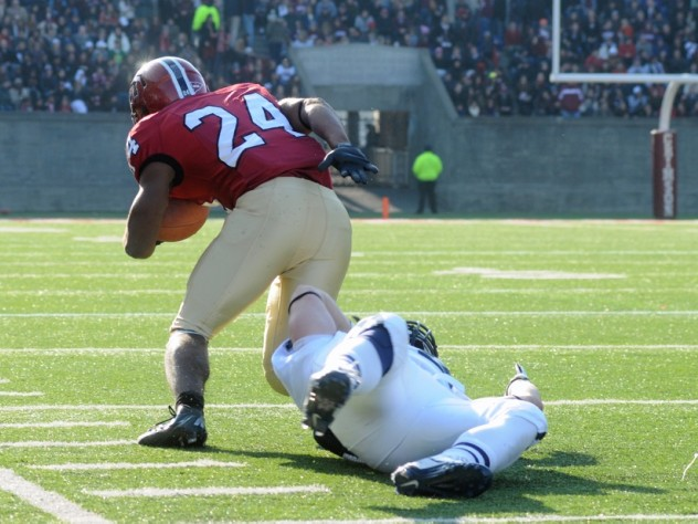Tailback Treavor Scales left Yale defenders behind him as he raced 63 yards for the game's clinching touchdown.
